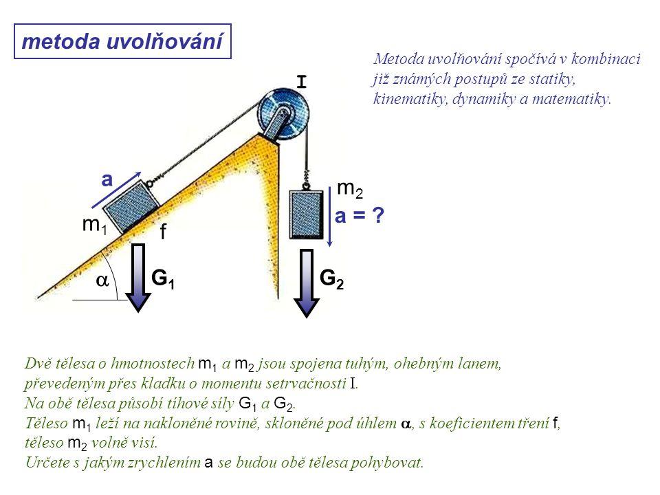 G2G2 G1G1 metoda uvolňování a a = ? Dynamika I, 10. přednáška Metoda uvolňování spočívá v kombinaci již známých postupů ze statiky, kinematiky, dynami