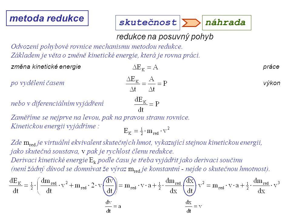 metoda redukce Dynamika I, 10. přednáška skutečnostnáhrada Odvození pohybové rovnice mechanismu metodou redukce. Základem je věta o změně kinetické en