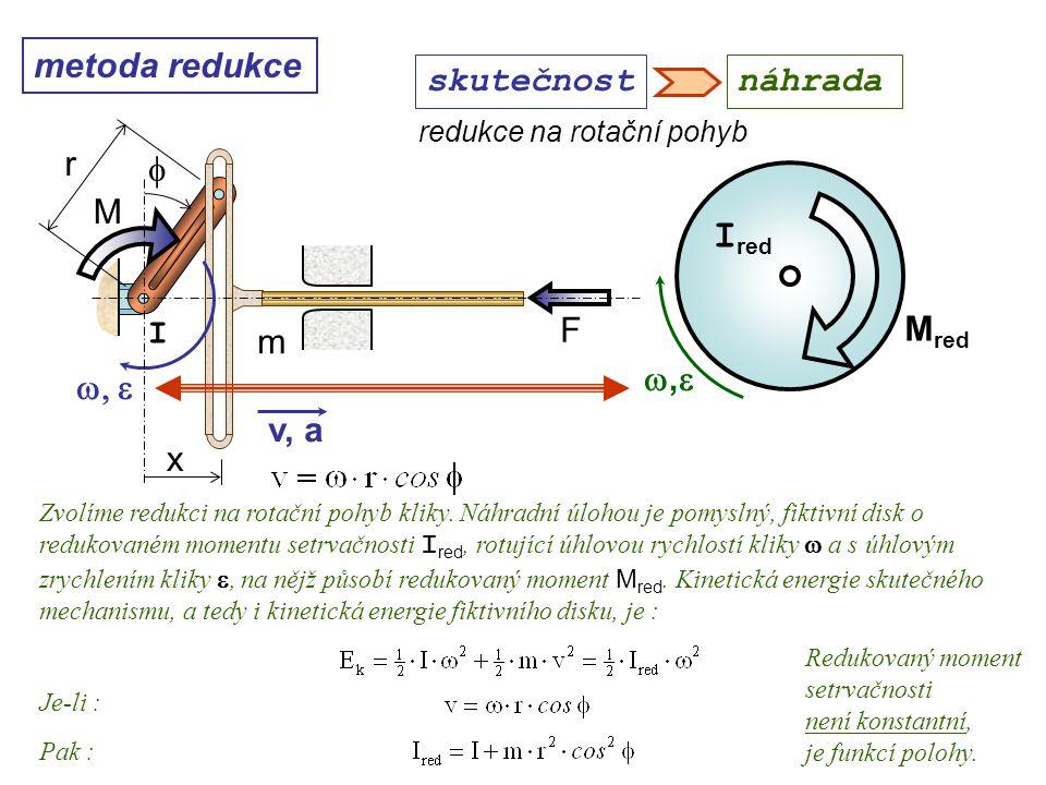 metoda redukce ,, M red I red redukce na rotační pohyb Dynamika I, 10. přednáška skutečnostnáhrada Zvolíme redukci na rotační pohyb kliky. Náhradn