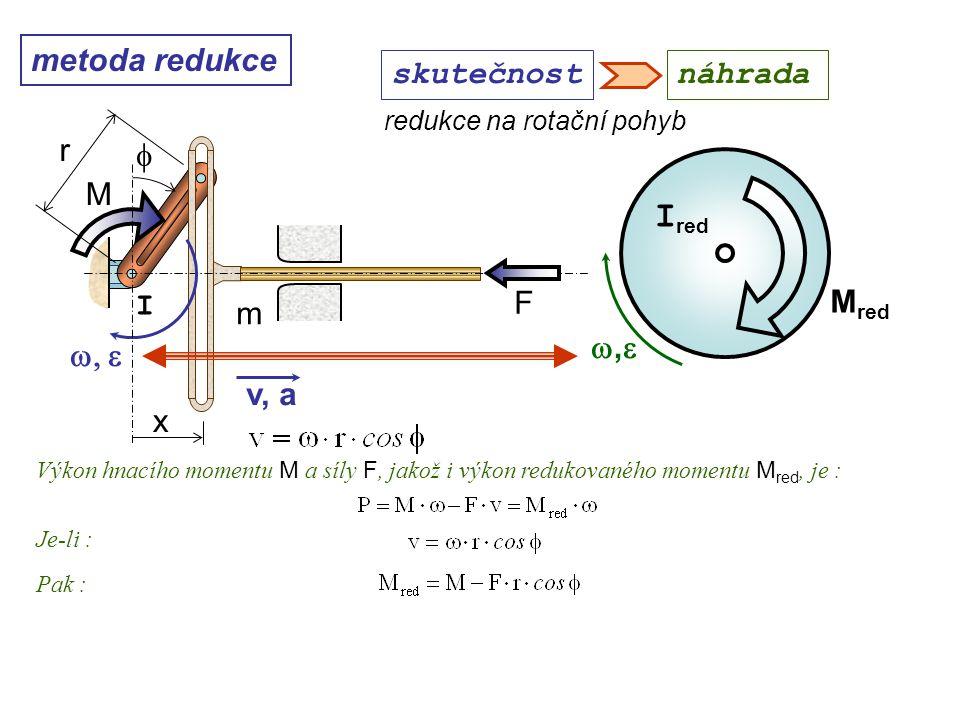 metoda redukce ,, M red I red redukce na rotační pohyb Dynamika I, 10. přednáška skutečnostnáhrada Výkon hnacího momentu M a síly F, jakož i výkon
