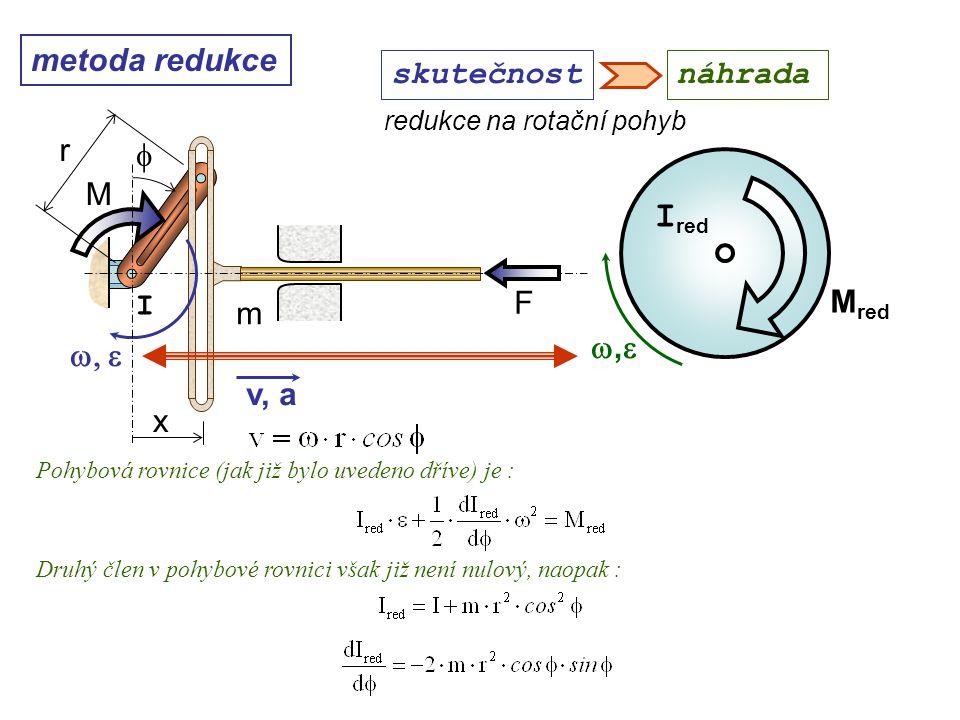 metoda redukce ,, M red I red redukce na rotační pohyb Dynamika I, 10. přednáška skutečnostnáhrada Pohybová rovnice (jak již bylo uvedeno dříve) j