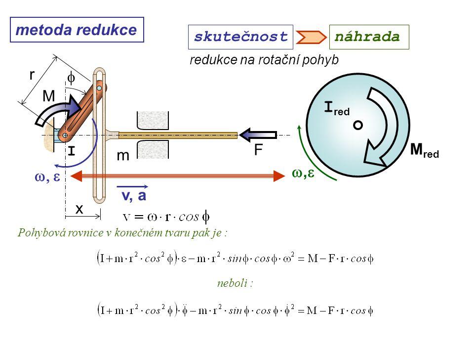 metoda redukce ,, M red I red redukce na rotační pohyb Dynamika I, 10. přednáška skutečnostnáhrada Pohybová rovnice v konečném tvaru pak je : v, a