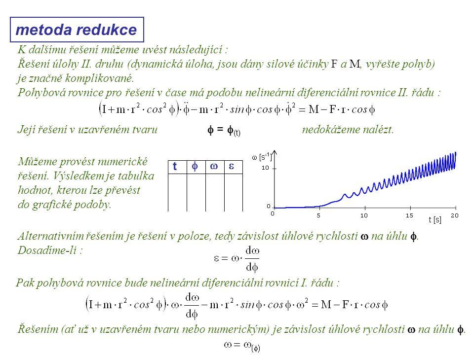 metoda redukce Dynamika I, 10. přednáška K dalšímu řešení můžeme uvést následující : Řešení úlohy II. druhu (dynamická úloha, jsou dány silové účinky