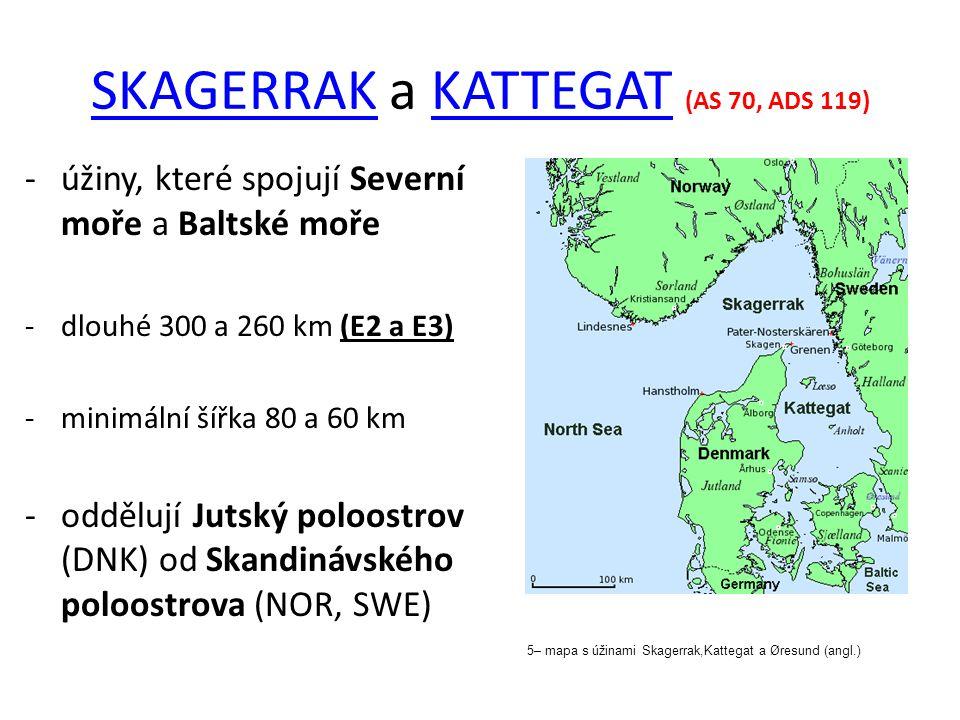 SKAGERRAKSKAGERRAK a KATTEGAT (AS 70, ADS 119)KATTEGAT -úžiny, které spojují Severní moře a Baltské moře -dlouhé 300 a 260 km (E2 a E3) -minimální šíř