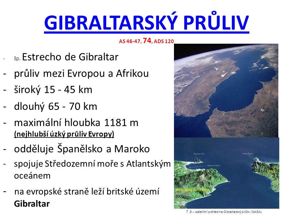 GIBRALTARSKÝ PRŮLIV GIBRALTARSKÝ PRŮLIV AS 46-47, 74, ADS 120 7,8 – satelitní pohled na Gibraltarský průliv (NASA) -šp. Estrecho de Gibraltar -průliv