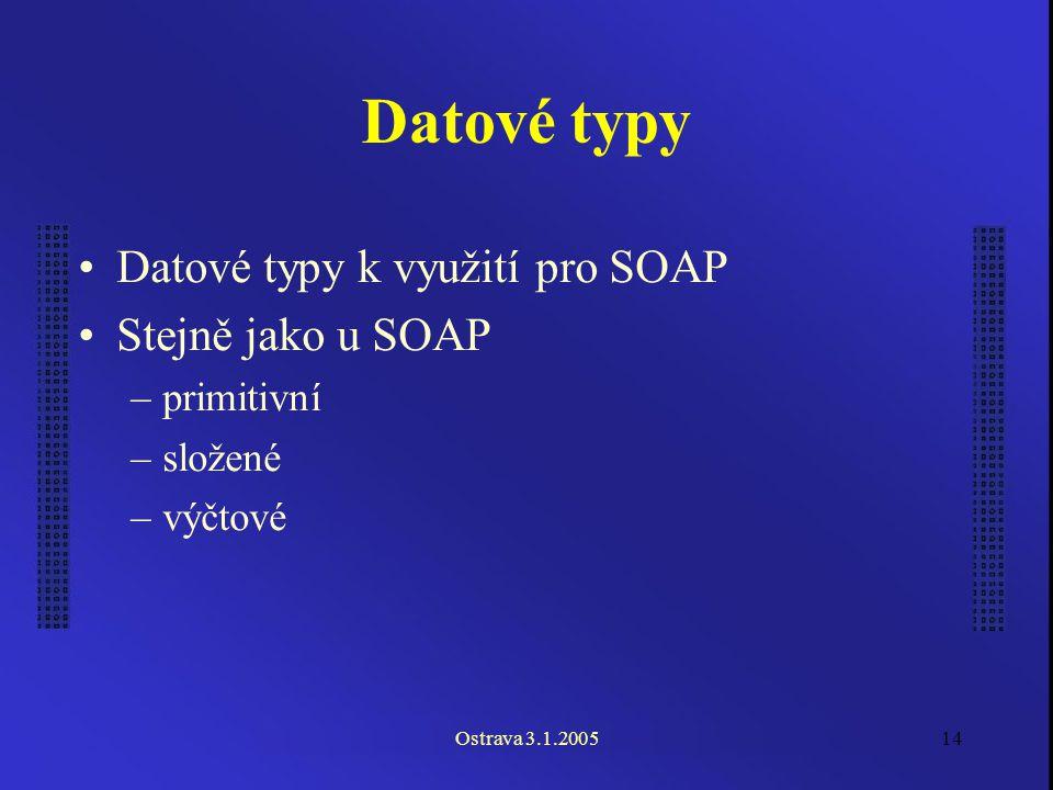 Ostrava 3.1.200514 Datové typy Datové typy k využití pro SOAP Stejně jako u SOAP –primitivní –složené –výčtové