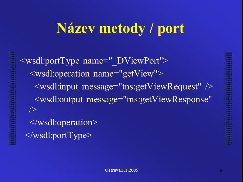 Ostrava 3.1.200510 Volání Binding (Vazba) –portType (rozhraní) Service (Služba) –port (více možných portů)