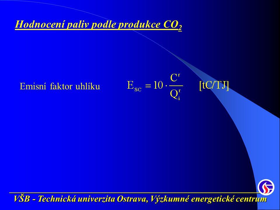 __________________________________________________________ VŠB - Technická univerzita Ostrava, Výzkumné energetické centrum Hodnocení paliv podle produkce CO 2 Emisní faktor uhlíku