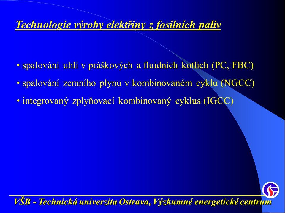 __________________________________________________________ VŠB - Technická univerzita Ostrava, Výzkumné energetické centrum Technologie výroby elektřiny z fosilních paliv spalování uhlí v práškových a fluidních kotlích (PC, FBC) spalování zemního plynu v kombinovaném cyklu (NGCC) integrovaný zplyňovací kombinovaný cyklus (IGCC)