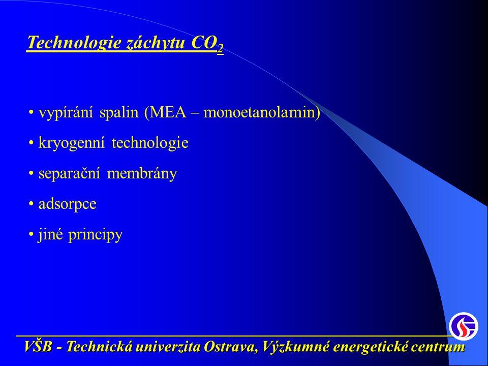 __________________________________________________________ Technologie záchytu CO 2 vypírání spalin (MEA – monoetanolamin) kryogenní technologie separační membrány adsorpce jiné principy