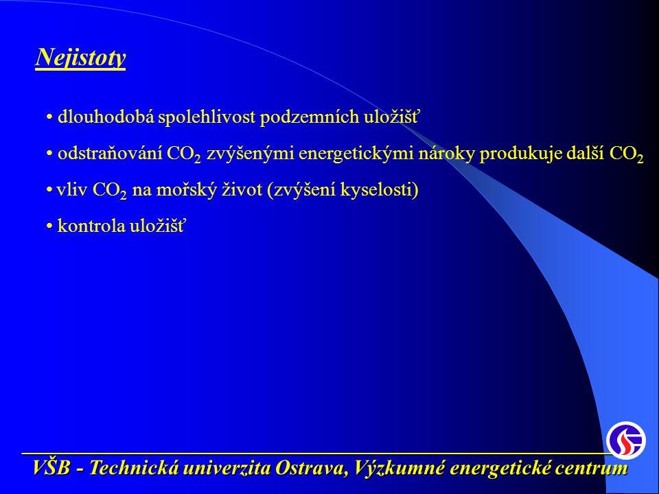__________________________________________________________ VŠB - Technická univerzita Ostrava, Výzkumné energetické centrum Nejistoty dlouhodobá spolehlivost podzemních uložišť odstraňování CO 2 zvýšenými energetickými nároky produkuje další CO 2 vliv CO 2 na mořský život (zvýšení kyselosti) kontrola uložišť