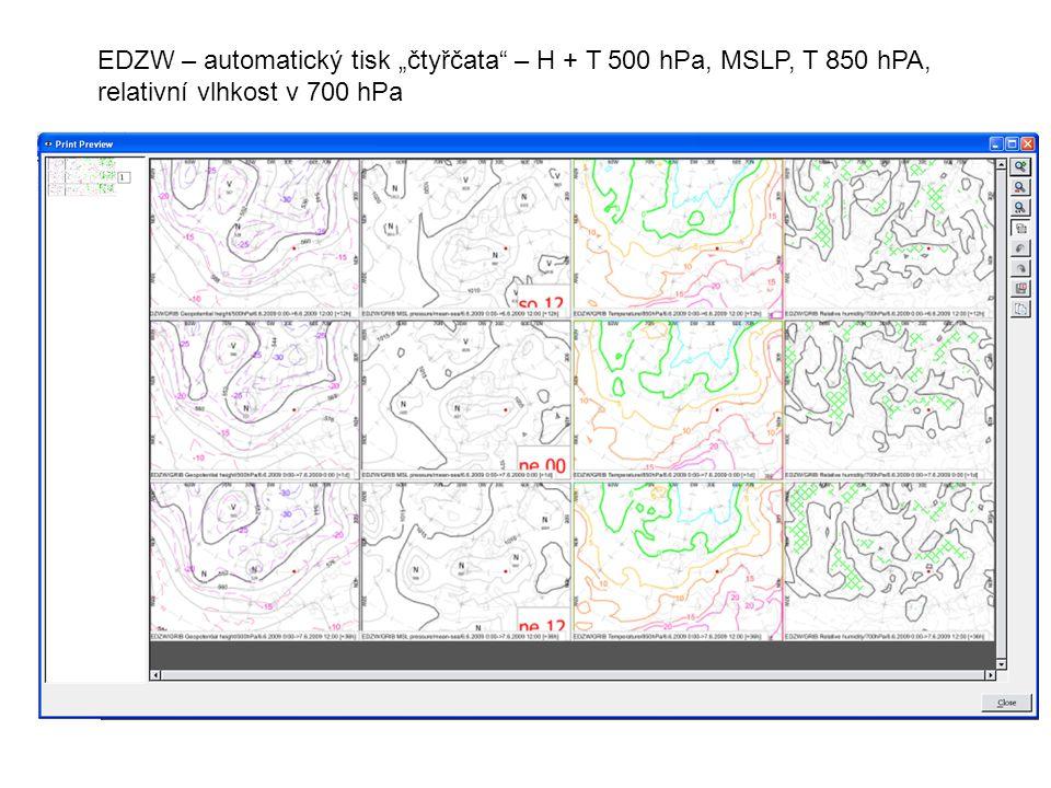 """EDZW – automatický tisk """"čtyřčata – H + T 500 hPa, MSLP, T 850 hPA, relativní vlhkost v 700 hPa"""