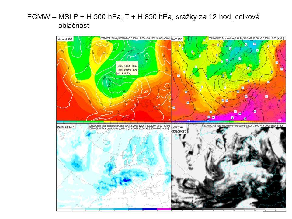 ECMW – MSLP + H 500 hPa, T + H 850 hPa, srážky za 12 hod, celková oblačnost