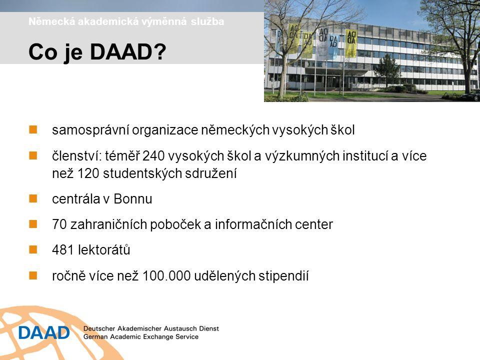 Německá akademická výměnná služba samosprávní organizace německých vysokých škol členství: téměř 240 vysokých škol a výzkumných institucí a více než 120 studentských sdružení centrála v Bonnu 70 zahraničních poboček a informačních center 481 lektorátů ročně více než 100.000 udělených stipendií Co je DAAD?