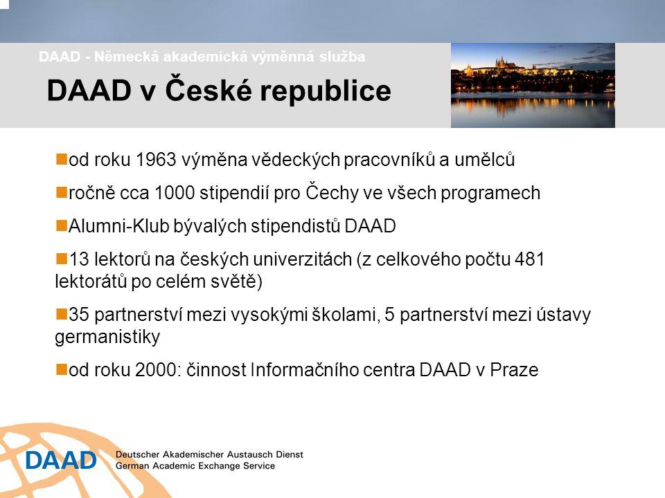 Síť lektorátů DAAD na českých univerzitách Praha (4) Plzeň České Budějovice Ústí nad Labem Liberec Hradec Králové Brno Olomouc Opava Ostrava
