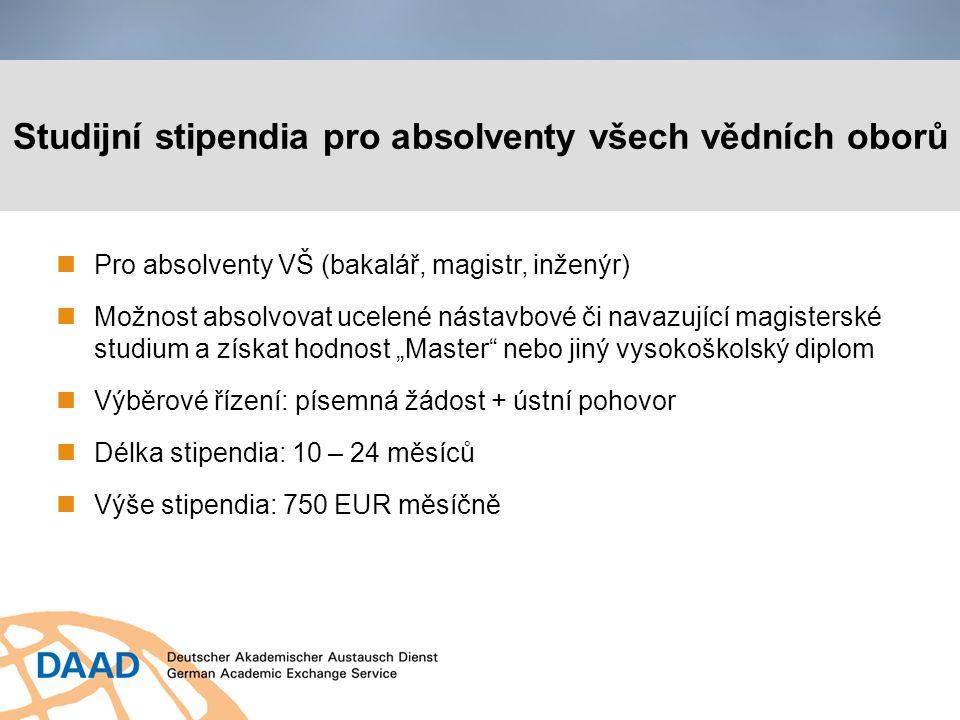 Výzkumná stipendia pro doktorandy a mladé vědce Pro absolventy VŠ (magistr/inženýr), příp.