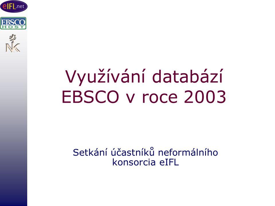 Využívání databází EBSCO v roce 2003 Setkání účastníků neformálního konsorcia eIFL
