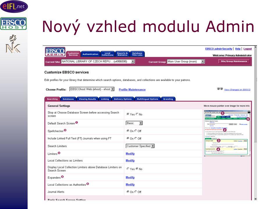 Nový vzhled modulu Admin