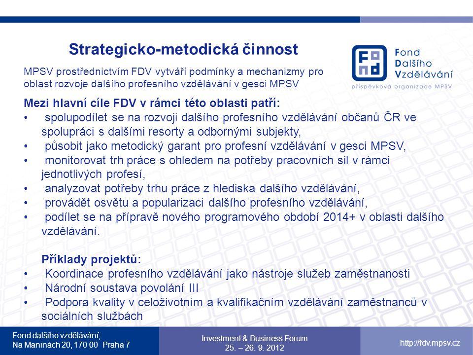 Strategicko-metodická činnost MPSV prostřednictvím FDV vytváří podmínky a mechanizmy pro oblast rozvoje dalšího profesního vzdělávání v gesci MPSV Mezi hlavní cíle FDV v rámci této oblasti patří: spolupodílet se na rozvoji dalšího profesního vzdělávání občanů ČR ve spolupráci s dalšími resorty a odbornými subjekty, působit jako metodický garant pro profesní vzdělávání v gesci MPSV, monitorovat trh práce s ohledem na potřeby pracovních sil v rámci jednotlivých profesí, analyzovat potřeby trhu práce z hlediska dalšího vzdělávání, provádět osvětu a popularizaci dalšího profesního vzdělávání, podílet se na přípravě nového programového období 2014+ v oblasti dalšího vzdělávání.