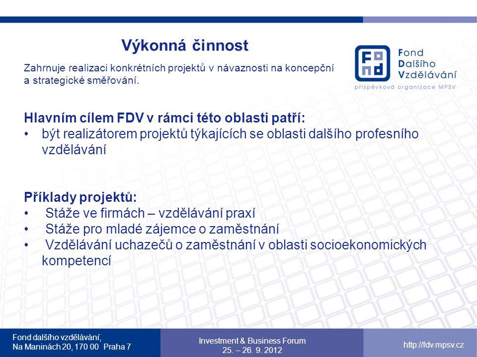 Hlavním cílem FDV v rámci této oblasti patří: být realizátorem projektů týkajících se oblasti dalšího profesního vzdělávání Příklady projektů: Stáže ve firmách – vzdělávání praxí Stáže pro mladé zájemce o zaměstnání Vzdělávání uchazečů o zaměstnání v oblasti socioekonomických kompetencí Fond dalšího vzdělávání, Na Maninách 20, 170 00 Praha 7 Investment & Business Forum 25.