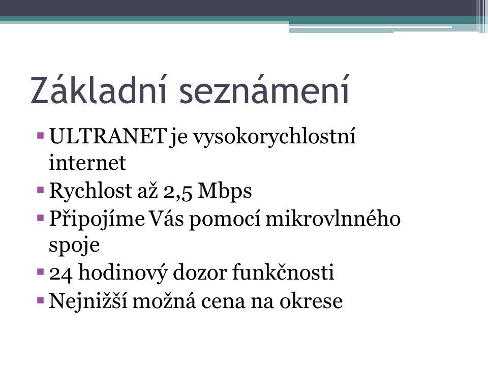Základní seznámení  ULTRANET je vysokorychlostní internet  Rychlost až 2,5 Mbps  Připojíme Vás pomocí mikrovlnného spoje  24 hodinový dozor funkčnosti  Nejnižší možná cena na okrese