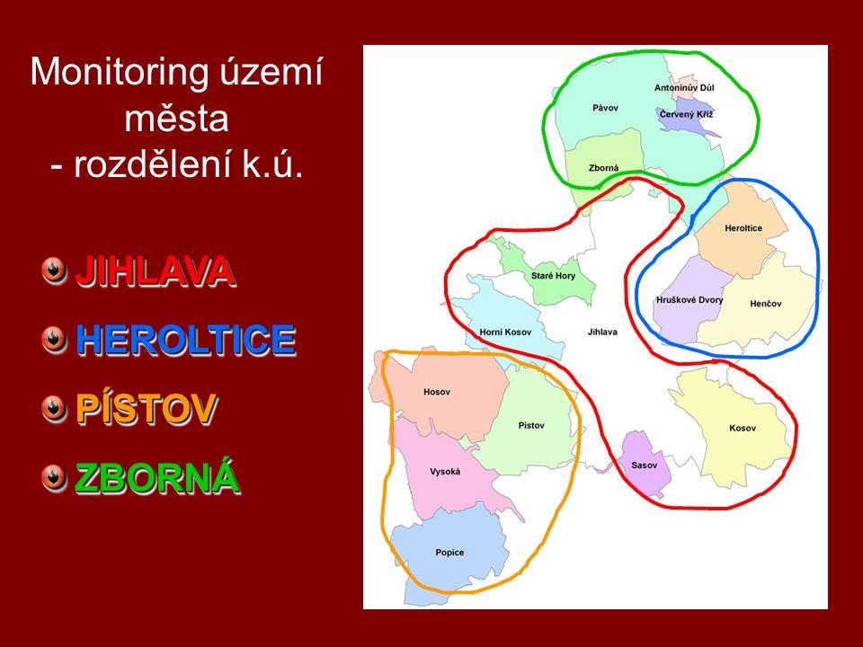 Monitoring území města - rozdělení k.ú. JIHLAVAHEROLTICEPÍSTOVZBORNÁJIHLAVAHEROLTICEPÍSTOVZBORNÁ