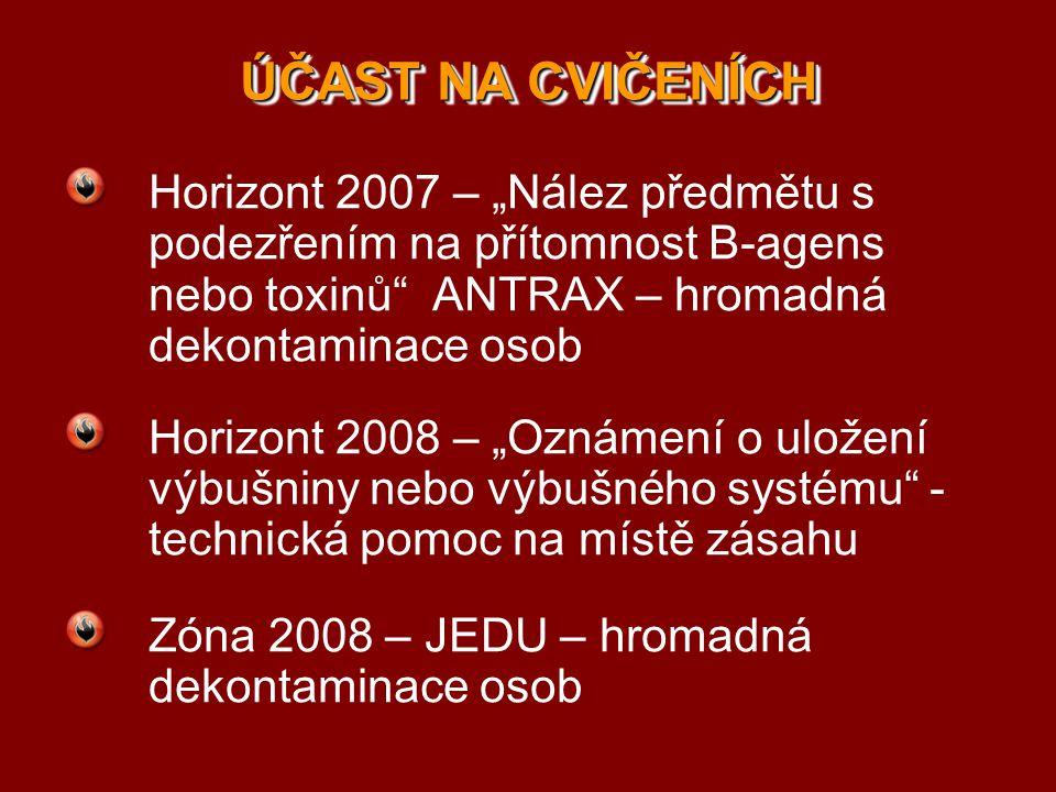 """ÚČAST NA CVIČENÍCH Horizont 2007 – """"Nález předmětu s podezřením na přítomnost B-agens nebo toxinů"""" ANTRAX – hromadná dekontaminace osob Horizont 2008"""