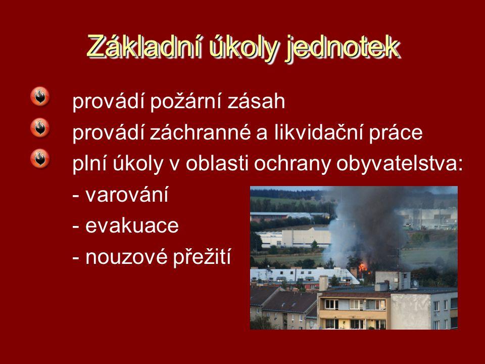 Základní úkoly jednotek provádí požární zásah provádí záchranné a likvidační práce plní úkoly v oblasti ochrany obyvatelstva: - varování - evakuace -