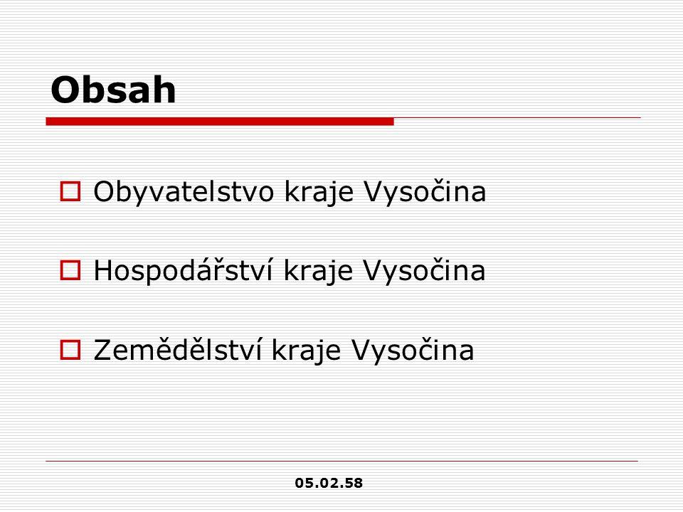 Obsah  Obyvatelstvo kraje Vysočina  Hospodářství kraje Vysočina  Zemědělství kraje Vysočina 05.02.58