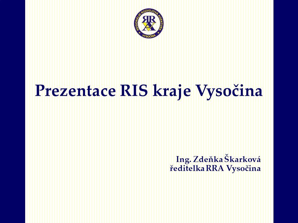 Prezentace RIS kraje Vysočina Ing. Zdeňka Škarková ředitelka RRA Vysočina