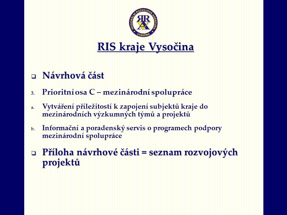 RIS kraje Vysočina  Návrhová část 3. Prioritní osa C – mezinárodní spolupráce a. Vytváření příležitostí k zapojení subjektů kraje do mezinárodních vý