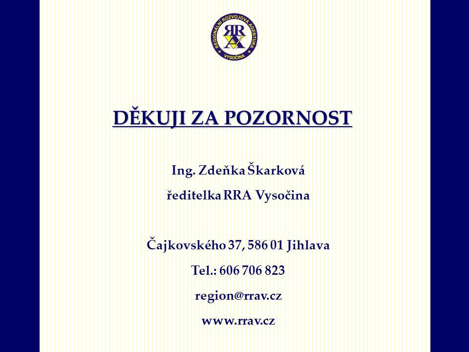 DĚKUJI ZA POZORNOST Ing. Zdeňka Škarková ředitelka RRA Vysočina Čajkovského 37, 586 01 Jihlava Tel.: 606 706 823 region@rrav.cz www.rrav.cz