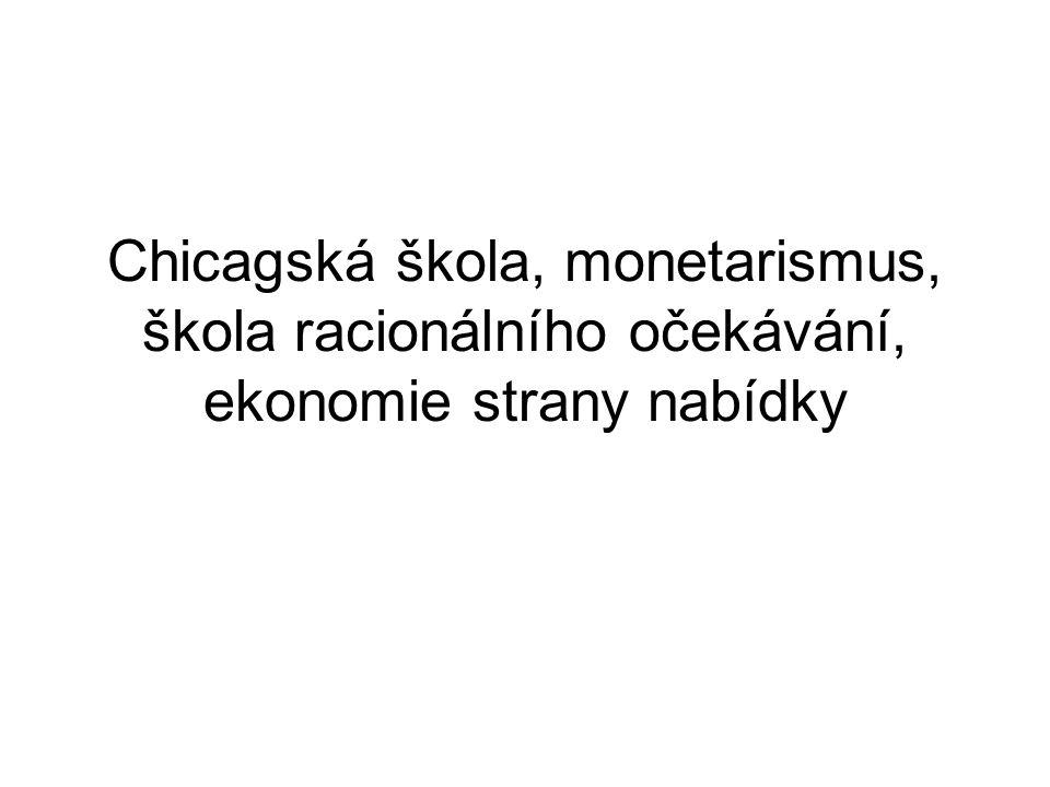 Chicagská škola, monetarismus, škola racionálního očekávání, ekonomie strany nabídky