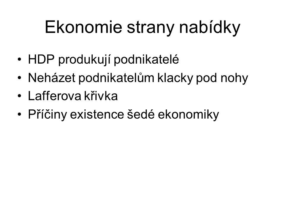 Ekonomie strany nabídky HDP produkují podnikatelé Neházet podnikatelům klacky pod nohy Lafferova křivka Příčiny existence šedé ekonomiky