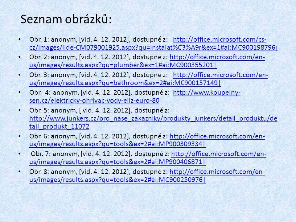 Seznam obrázků: Obr. 1: anonym, [vid. 4. 12.
