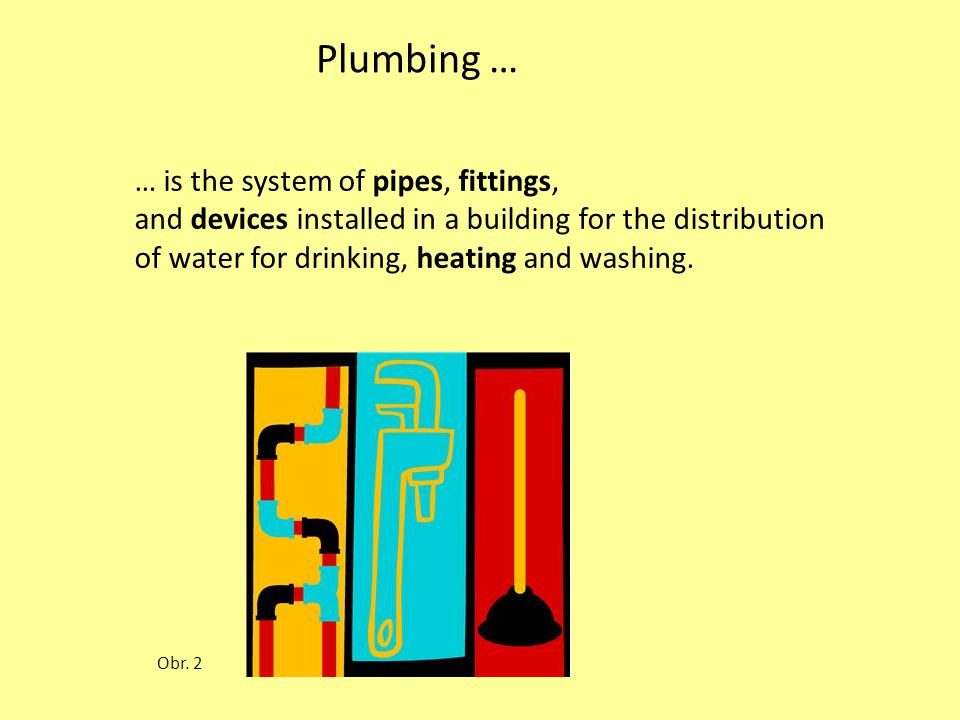 Water supply system It is subdivided into: cold-water system hot water system Fixtures and appliances that use water are: kitchen sinks washbasins toilets showers bathtubs Obr.