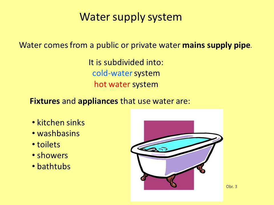 Water supply system It is subdivided into: cold-water system hot water system Fixtures and appliances that use water are: kitchen sinks washbasins toi