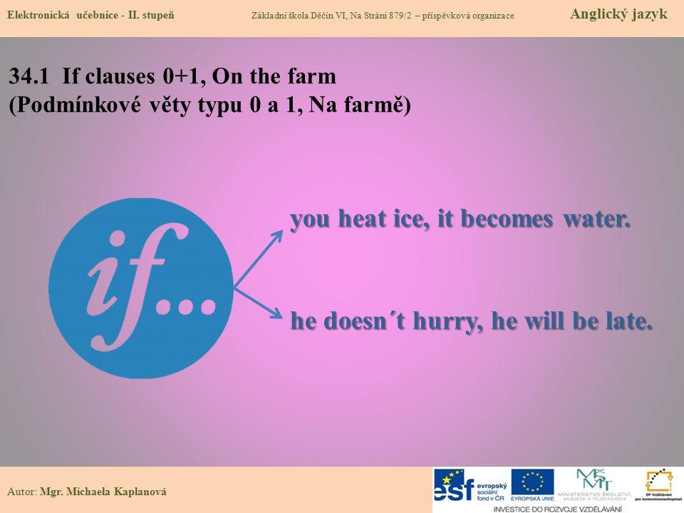 34.1 If clauses 0+1, On the farm (Podmínkové věty typu 0 a 1, Na farmě) Elektronická učebnice - II. stupeň Základní škola Děčín VI, Na Stráni 879/2 –