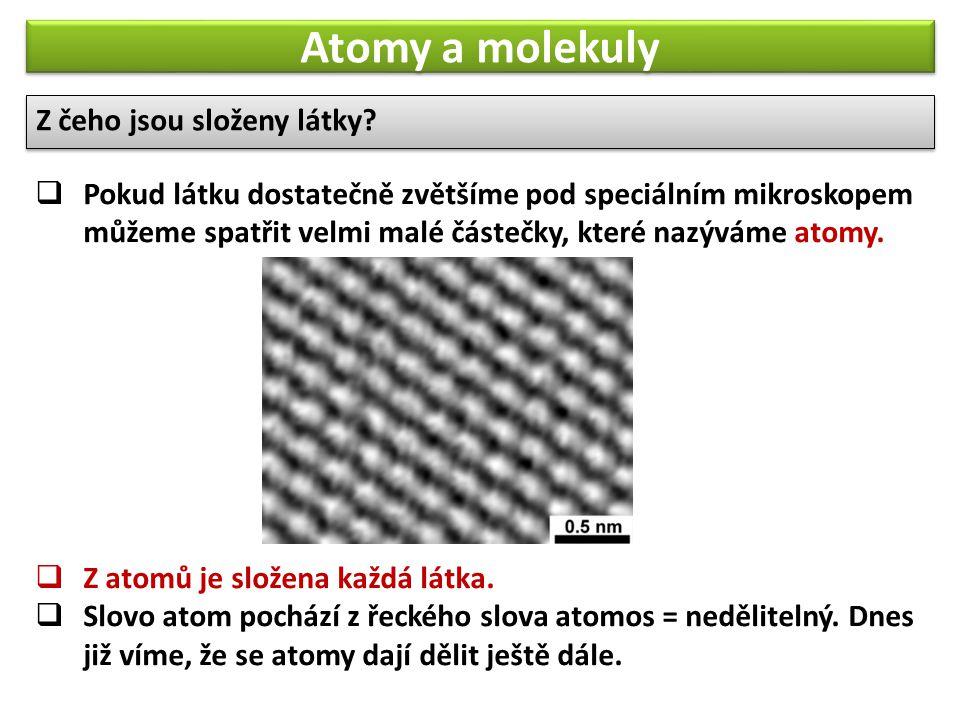 Atomy a molekuly Z čeho jsou složeny látky. Z čeho jsou složeny látky.