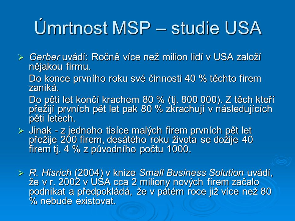 Úmrtnost MSP – European Observatovy for SME Research (2000)