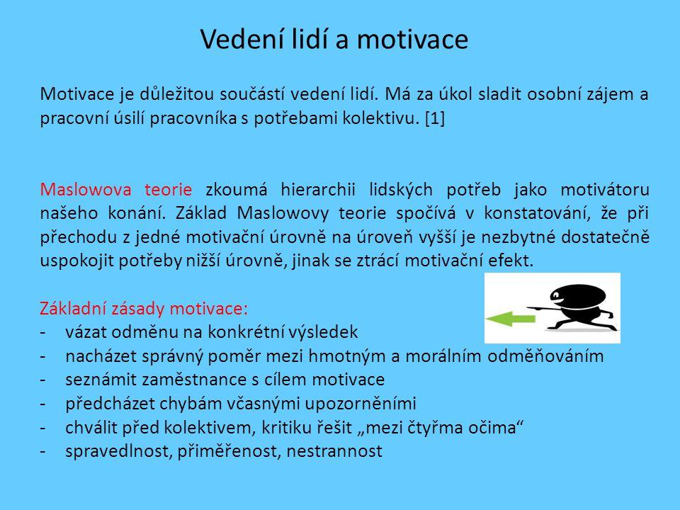 Vedení lidí a motivace Motivace je důležitou součástí vedení lidí.
