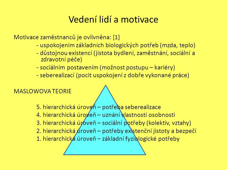 Motivace zaměstnanců je ovlivněna: [1] - uspokojením základních biologických potřeb (mzda, teplo) - důstojnou existencí (jistota bydlení, zaměstnání, sociální a zdravotní péče) - sociálním postavením (možnost postupu – kariéry) - seberealizací (pocit uspokojení z dobře vykonané práce) MASLOWOVA TEORIE 5.