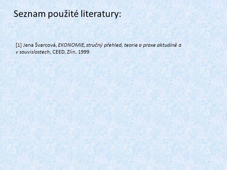 Seznam použité literatury: [1] Jena Švarcová, EKONOMIE, stručný přehled, teorie a praxe aktuálně a v souvislostech, CEED, Zlín, 1999