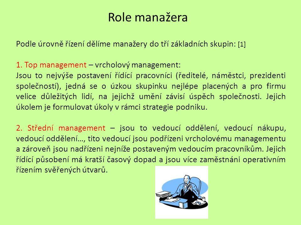Role manažera Podle úrovně řízení dělíme manažery do tří základních skupin: [1] 1.