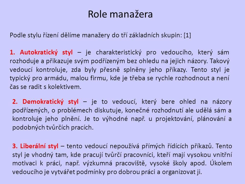 Role manažera Podle stylu řízení dělíme manažery do tří základních skupin: [1] 1.