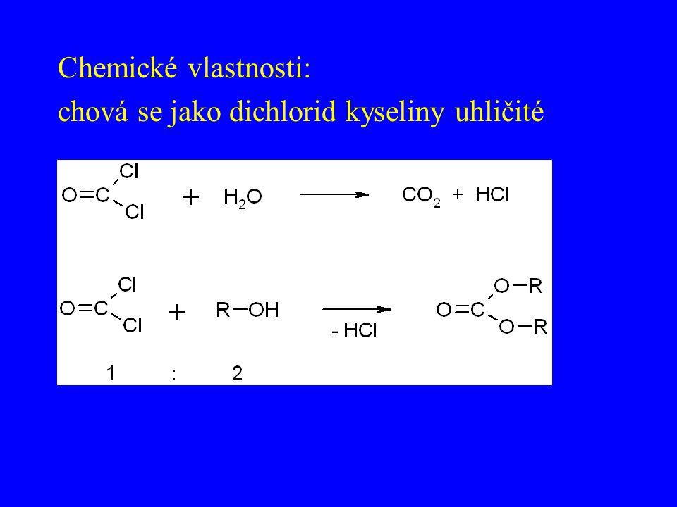 Chemické vlastnosti: chová se jako dichlorid kyseliny uhličité