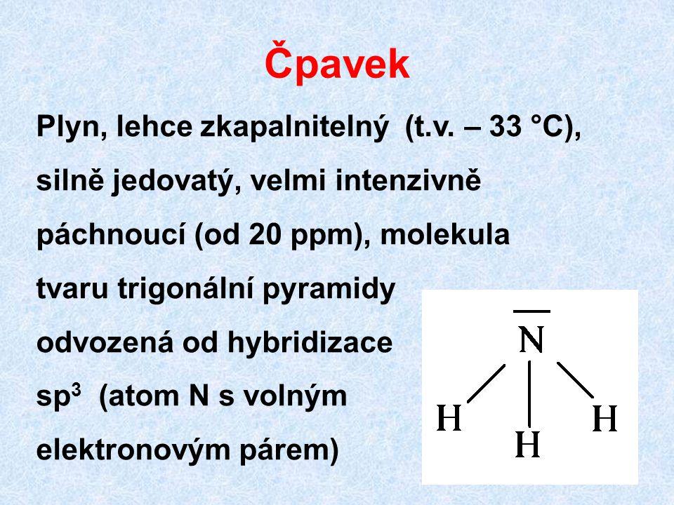 Čpavek Plyn, lehce zkapalnitelný (t.v. – 33 °C), silně jedovatý, velmi intenzivně páchnoucí (od 20 ppm), molekula tvaru trigonální pyramidy odvozená o