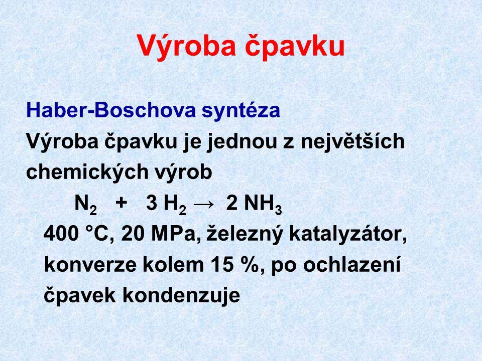 Výroba čpavku Haber-Boschova syntéza Výroba čpavku je jednou z největších chemických výrob N 2 + 3 H 2 → 2 NH 3 400 °C, 20 MPa, železný katalyzátor, k