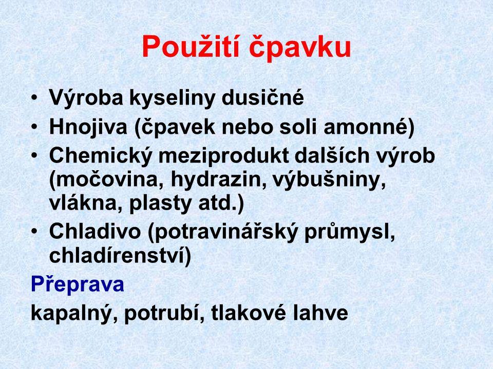 Použití čpavku Výroba kyseliny dusičné Hnojiva (čpavek nebo soli amonné) Chemický meziprodukt dalších výrob (močovina, hydrazin, výbušniny, vlákna, pl