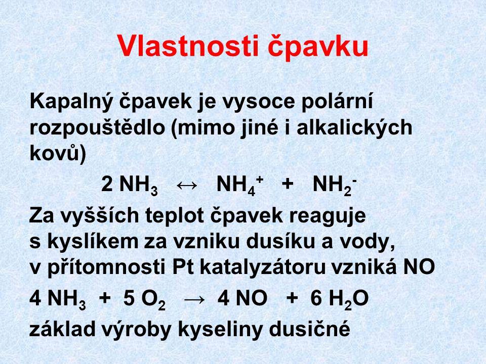 Vlastnosti čpavku Kapalný čpavek je vysoce polární rozpouštědlo (mimo jiné i alkalických kovů) 2 NH 3 ↔ NH 4 + + NH 2 - Za vyšších teplot čpavek reagu